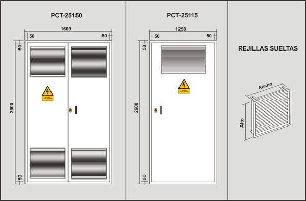 Puertas metalicas para centros de transformacion for Puertas metalicas para habitaciones